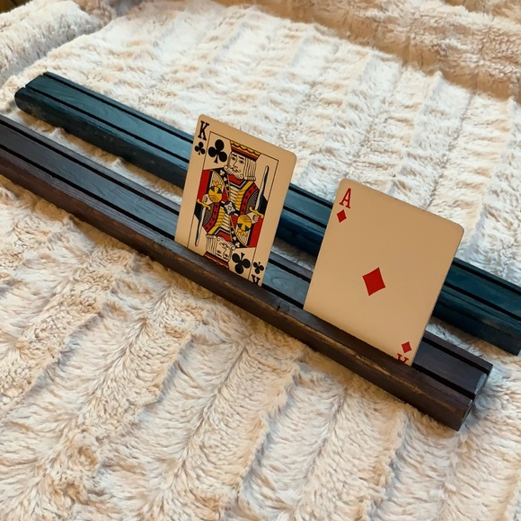 Pair of Wooden Playing Card Holders